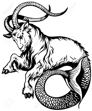 27766593-capricorn-astrological-zodiac-sign-black-and-white-tattoo-image-Stock-Vector